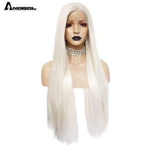 Image 4 - Anogol פלטינה בלונדינית טבעי שיער פאות 613 ארוך משיי ישר סינטטי תחרה מול פאה עבור לבן נשים
