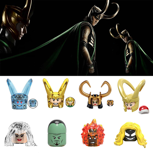 X0271 Marvel Series The Avengers Toy Loki Laufeyson Thor Odinson Action Figure Head Accessories Building Blocks