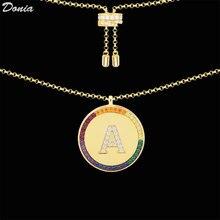 Donia jóias europeu americano arco-íris 26 carta colar masculino e feminino amante clavícula corrente dia dos namorados acessório presente