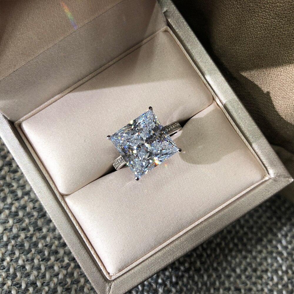 Choucong 100% réel 925 en argent Sterling anneaux pour femmes hommes carré 12mm Sona Diamon cz fiançailles bague de mariage bijoux fins - 4