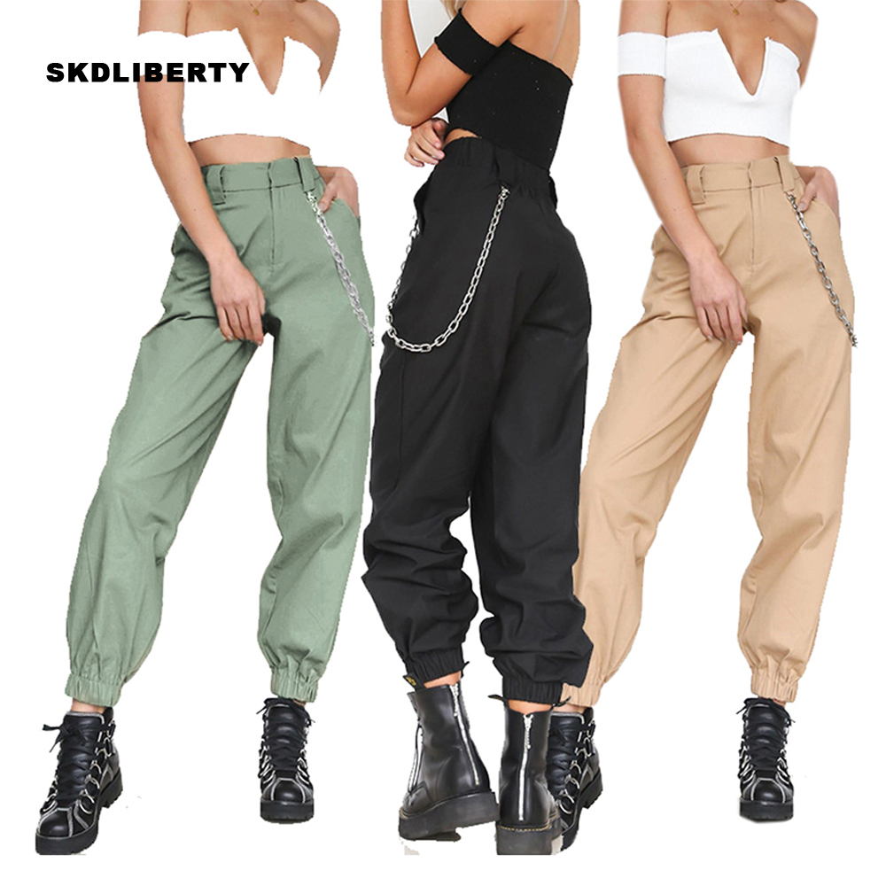 Harajuku Streetwear Women Casual Harem Pants With Chain Solid Color Elastic Waist Pant Cool Hip Hop Long Trousers Capris