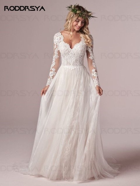 A Line Long Sleeve Wedding Dress Lace Bridal Dresses 2020 Tulle Ivory Vestido De Novia Open Back свадебное платье Plus Size 1