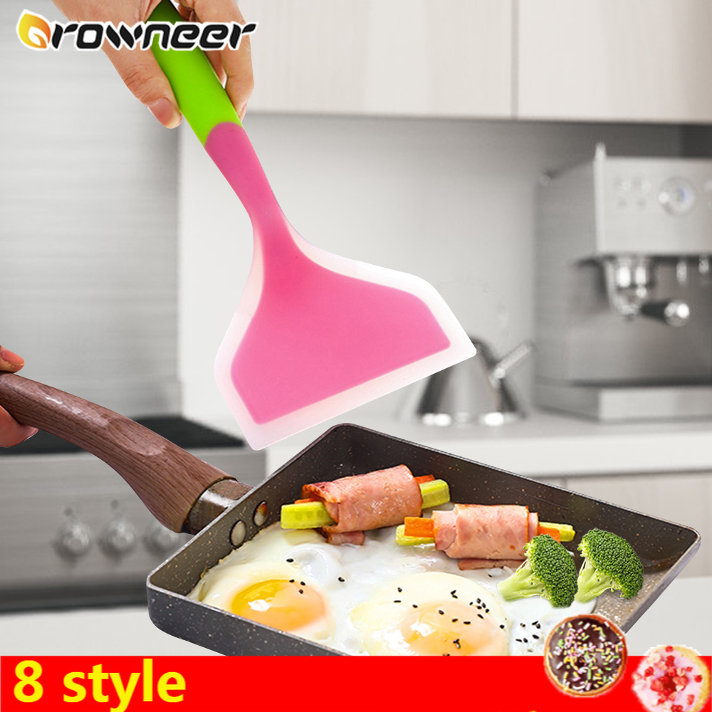 8 Style Multifunction Colorful Cooking Spatula Silicone Soft High Temperature Resistant Pizza Fry Shovel Beef Meat Egg Scraper