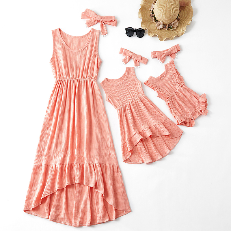 Mommy And Daughter Matching Clothes Family Outfits Look Cute Sweet Dress Sleeveless Women Baby Girl's Dress Pink Baby Clothes