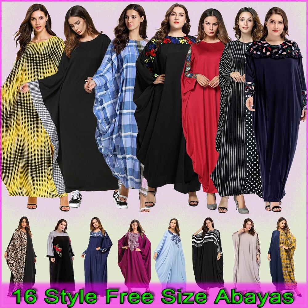 Muslim Women Kaftan Abaya Kimono Plus Size Maxi Long Dress Uae Dubai Ladies Hijab Caftan Marocain Turkey Turkish Islam Clothing
