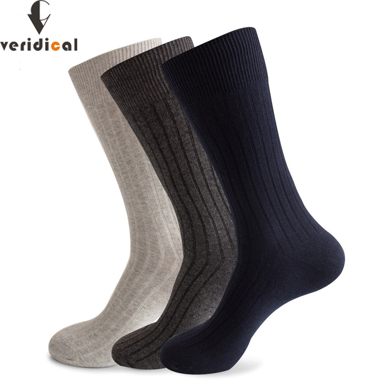 VERIDICAL Large Size Men Socks Cotton Long Business Harajuku Socks 5 Pairs/lot Winter Solid Gentleman Sox Sokken Fit EU 42-48