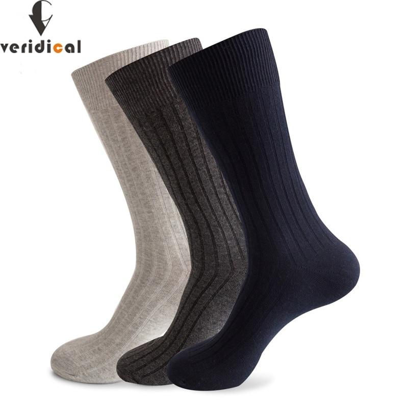VERIDICAL Large Size Men Socks Cotton Long Business Harajuku Socks 5 Pairs/lot Winter Solid Gentleman Sox Sokken Fit EU 42-48