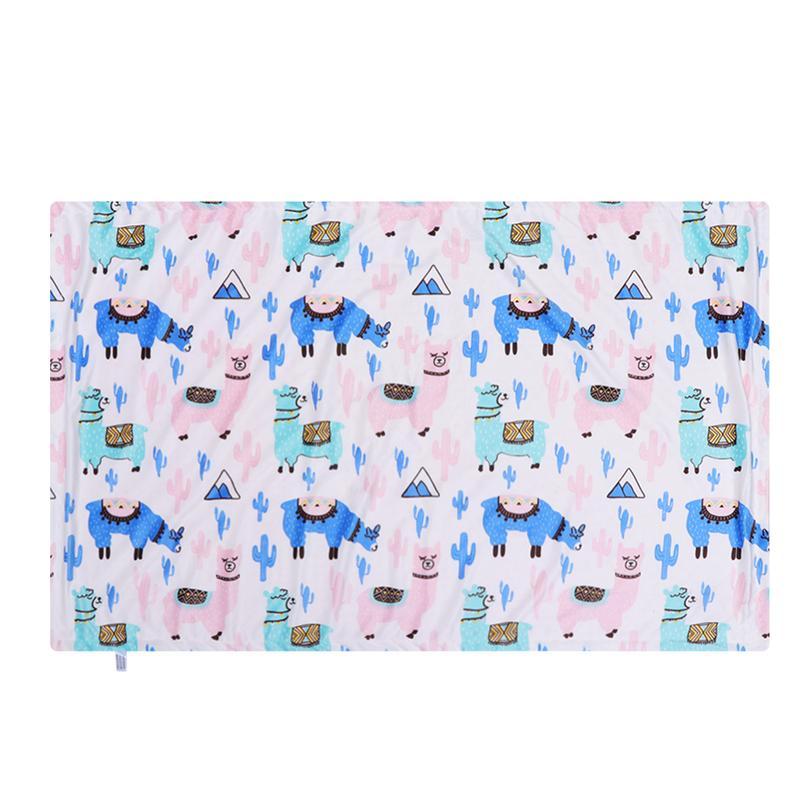 75x120cm Alpaca Pattern Baby Blanket Double-Layers Outdoor Blanket Coral Fleece Blanket Cart Blanket