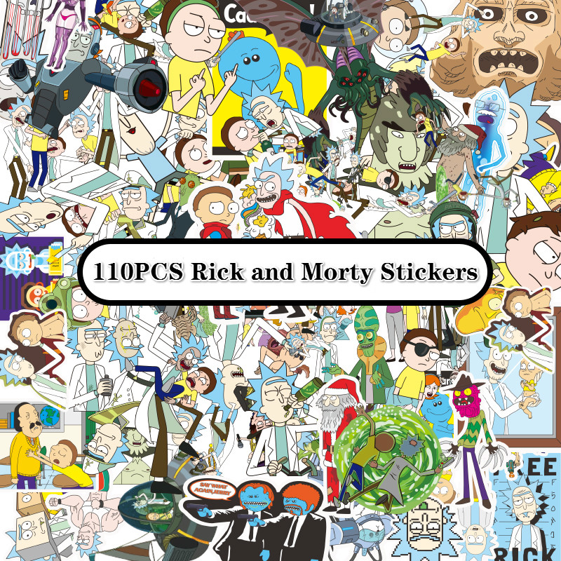 110pcs Drama Rick And Morty 2019 Stickers Decal For Snowboard Laptop Luggage Car Fridge DIY Styling Vinyl Home Decor Pegatina