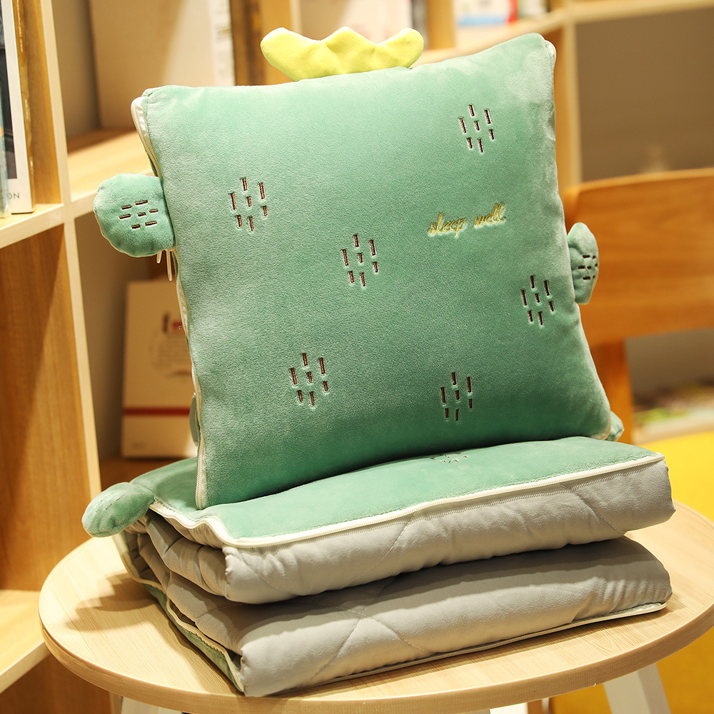 New 1 pcs Stuffed Cactus Pineapple Plant Pillow Air Conditioning Quilt Plush Car Office Nap Sleeping 2 In 1 Cushion with Blanket image