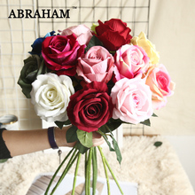 50cm Large Red Artificial Rose Branch Fake Flowers Bouquet Flannel Fabric White Floral Crafts For Wedding Home Party Decor