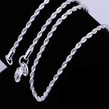 Горячая Распродажа, розничная и, серебряное ожерелье для женщин и мужчин, ожерелье 2mm16, 18,20, 22,24 дюймов, витая веревочная цепочка, ювелирные изделия, аксессуары, печать 925