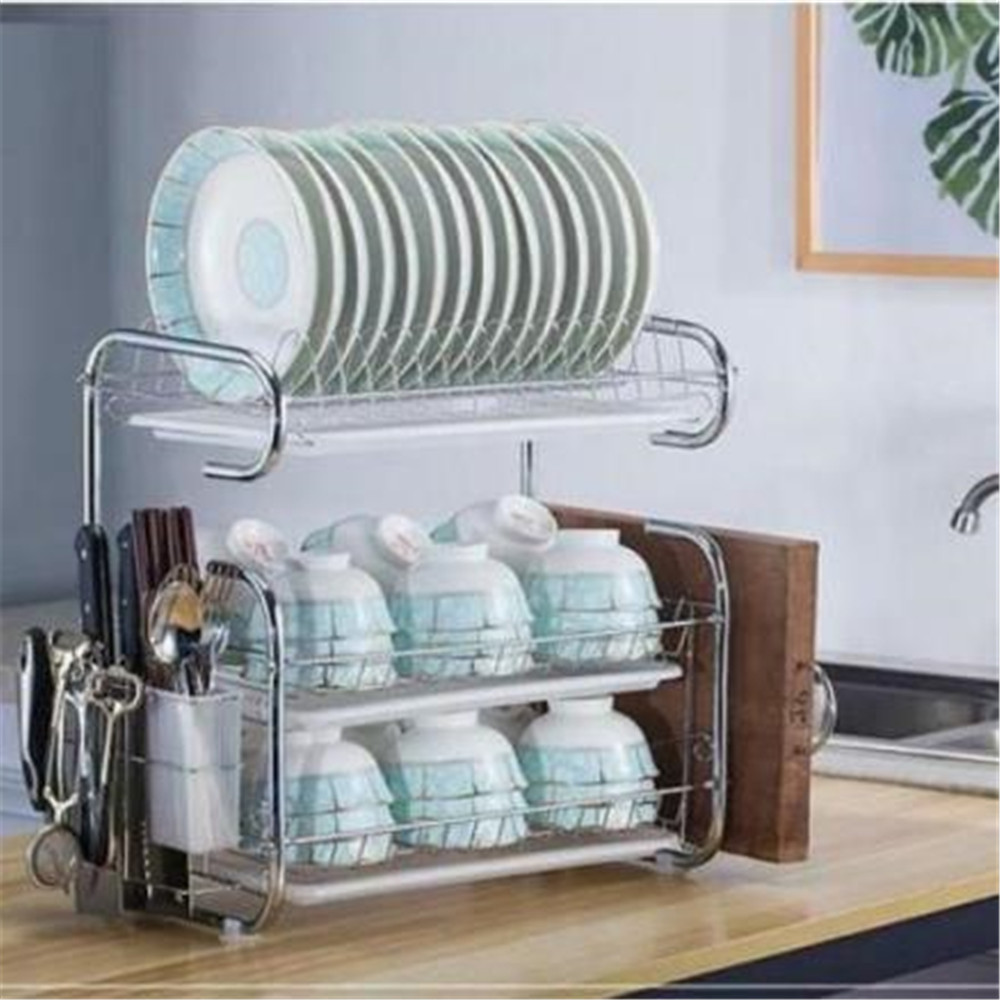 304 Stainless Steel Kitchen Storage Rack Dish Drainer Plate Drying Shelf Cover Cutlery Holder 3-Layer Dishes Rack