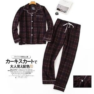 Image 4 - Pijama sencillo de algodón a cuadros para hombre, ropa de dormir informal de Corea para invierno y otoño