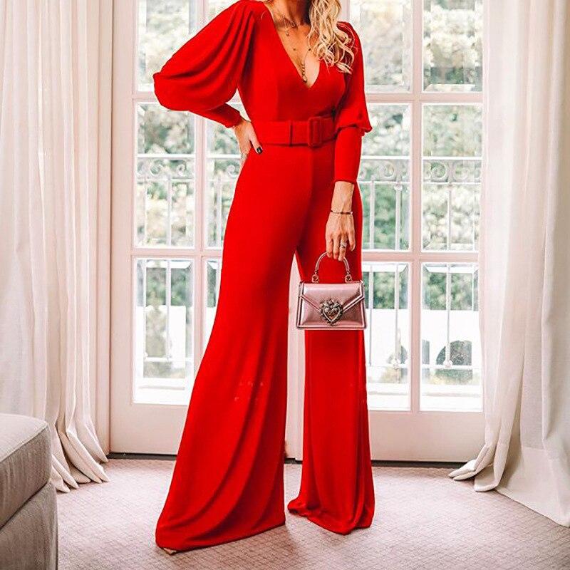 Women Office Lady Elegant Wide Leg Jumpsuits Autumn Solid Color Rompers Belted Waist Office Wear Jumpsuit Long Pants Overalls