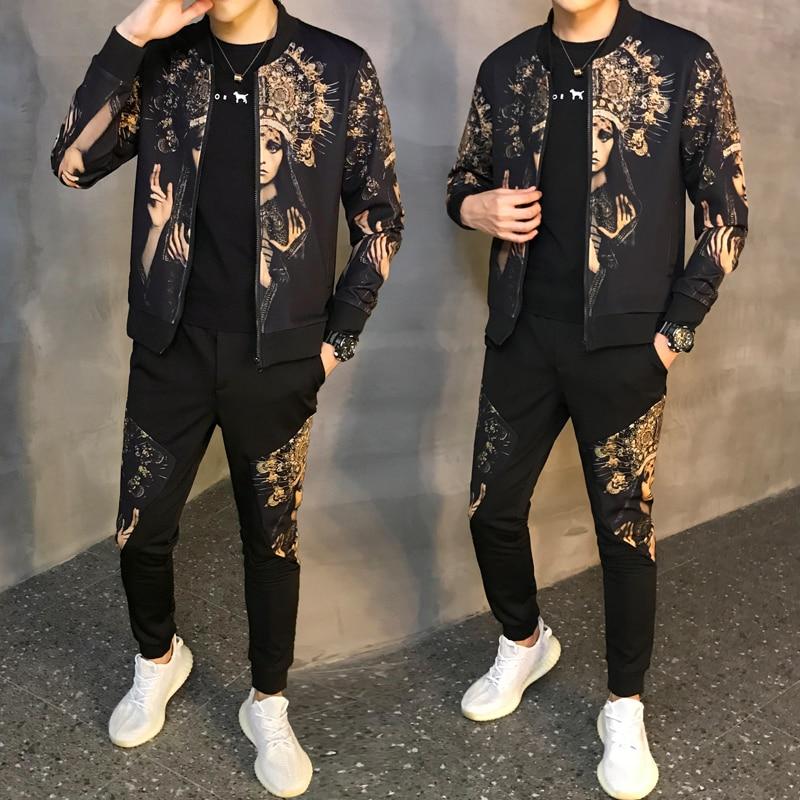 Jacket + Pants Tracksuit Male Tracksuit Asian Size Moda Hombre 2019 New Men Set Spring Autumn Man Sport 2 Piece Sets Sport Suit