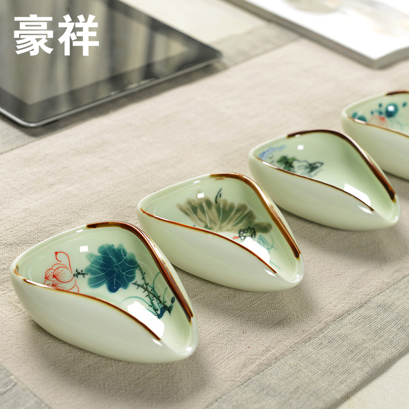TEA CHA HE Handpainted Ceramic Tea Holder For Chinese Porcelain Kung Fu Tea Sets Jingdezhen Celadon Kung Fu Tea Spoon