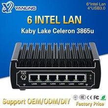 Minisys stokta Intel Celeron 3865u Pfsense Mini PC çift çekirdekli 6 Lan portu gelişmiş fansız Linux güvenlik duvarı yönlendirici desteği AES NI