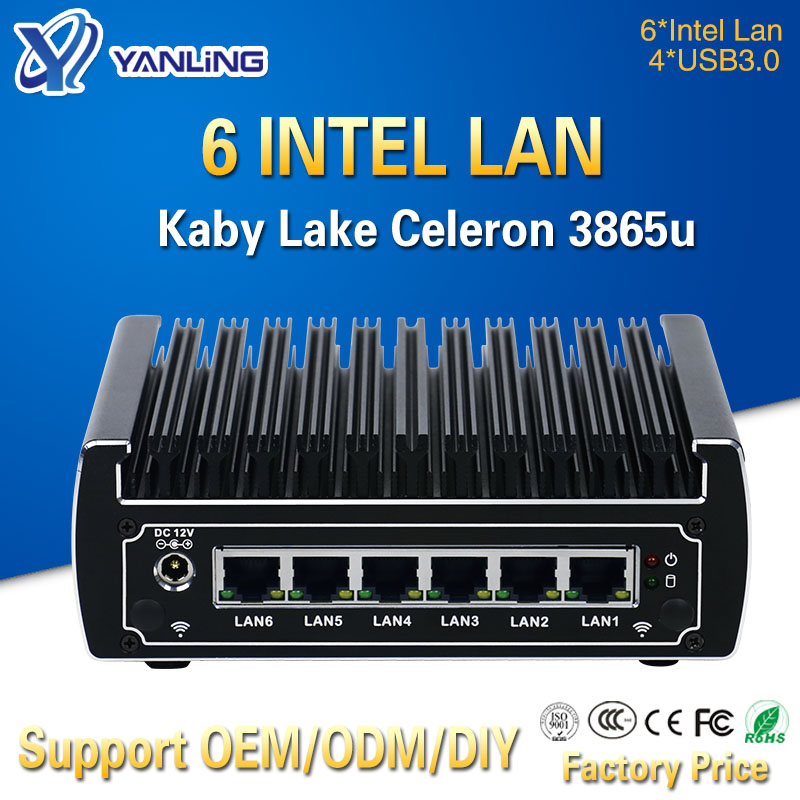Minisys w magazynie intel celeron 3865u Pfsense Mini PC dwurdzeniowy 6 Port Lan zaawansowany bez wentylatora Linux Firewall Router obsługuje AES-NI
