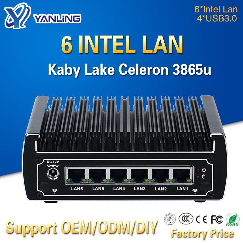Yanling In Stock Intel Celeron 3865u Pfsense Mini PC Dual Core 6 Lan Port Advanced Fanless Linux Firewall Router Support AES-NI
