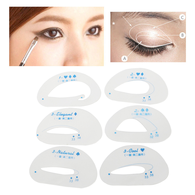 6pcs/pack Cat Smokey Eye Makeup Stencils  Eyebrow Stencil Eyeshadow Models Card Auxiliary Makeup Tools