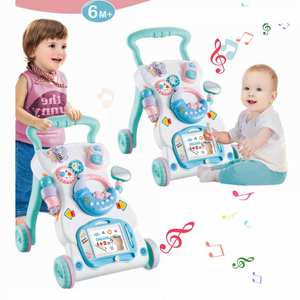 Kidlove Toys Trolley Music-Walker Toddler Multi-Function with ABS for Adjustable-Height