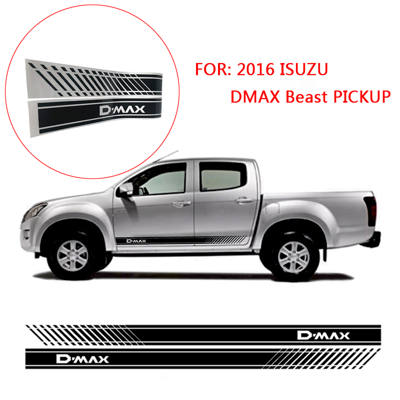 2 pièces dégradé porte autocollant autocollant côté graphique pour 2016 ISUZU DMAX bête pick-up