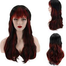 Женские синтетические волосы из синтетического волокна, черные, красные, челки, натуральные длинные кудрявые вечерние парики