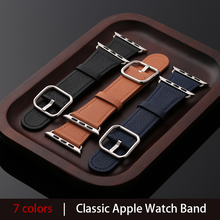 цена на Genuine Leather Strap for Apple Watch Band 44mm 40mm 42mm, Bracelet Smart Accessories Wrist for iWatch 38mm series 4 3 2 1