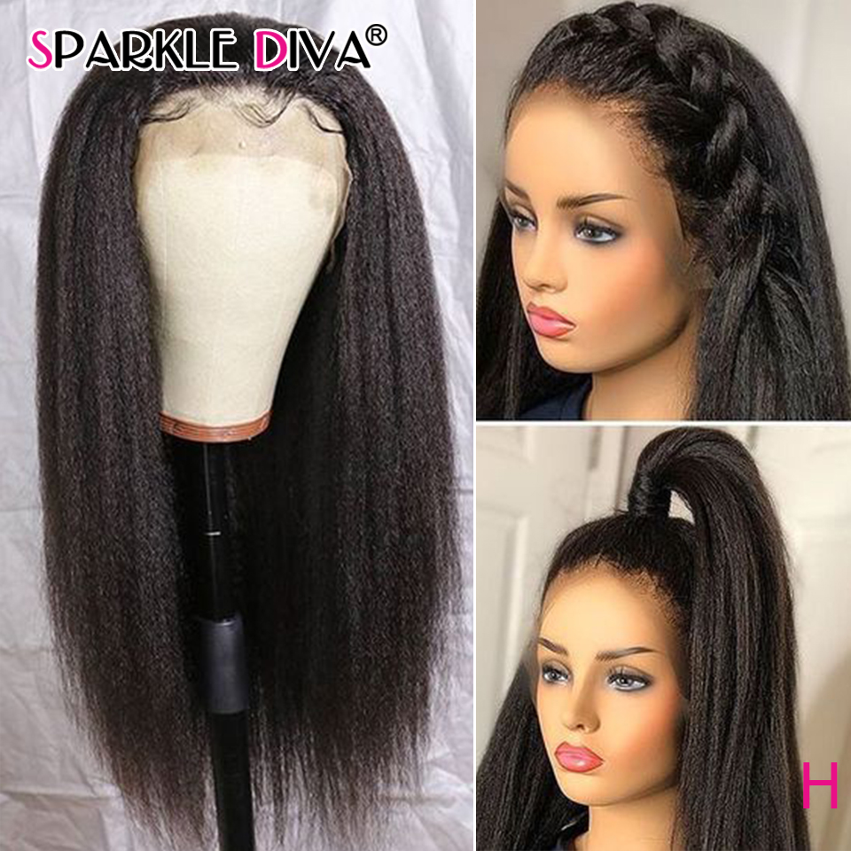 Kinky Straight 360 Lace Frontal Human Hair Wigs For Women Brazilian Italian Yaki Lace Wig 8-24 Remy Human Hair Wigs 150% Density