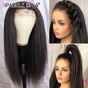 Kinky Straight 360 Lace Frontal Human Hair Wigs For Women Brazilian Italian Yaki Lace Wig 8-24 Remy Human Hair Wigs 150% Density(China)