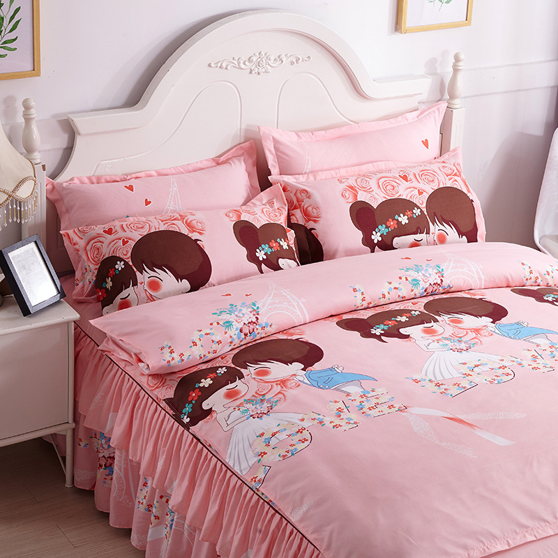 New Style Skin Soft Activity Plant Aloe Cotton One-Piece Bed Skirt Bedding Article