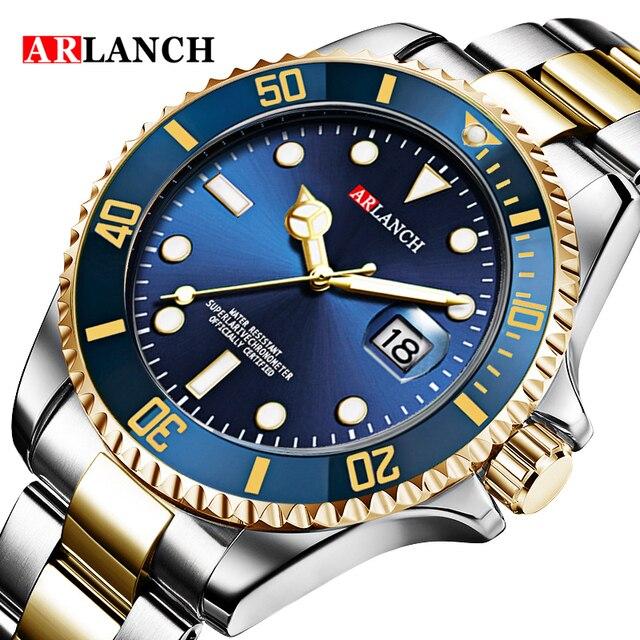 Ouro prata verde água fantasma aço inoxidável marca superior luxo rolexable gmt submariner esporte à prova dwaterproof água clássico relógios masculinos 4