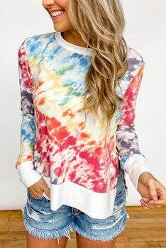 Tie Dye Print Long Sleeve Sweatshirts Casual Women Girls Pullover Tops for Spring Autumn Fashion Female Split Hem Sweatshirt face print dolman sleeve curved hem tshirt