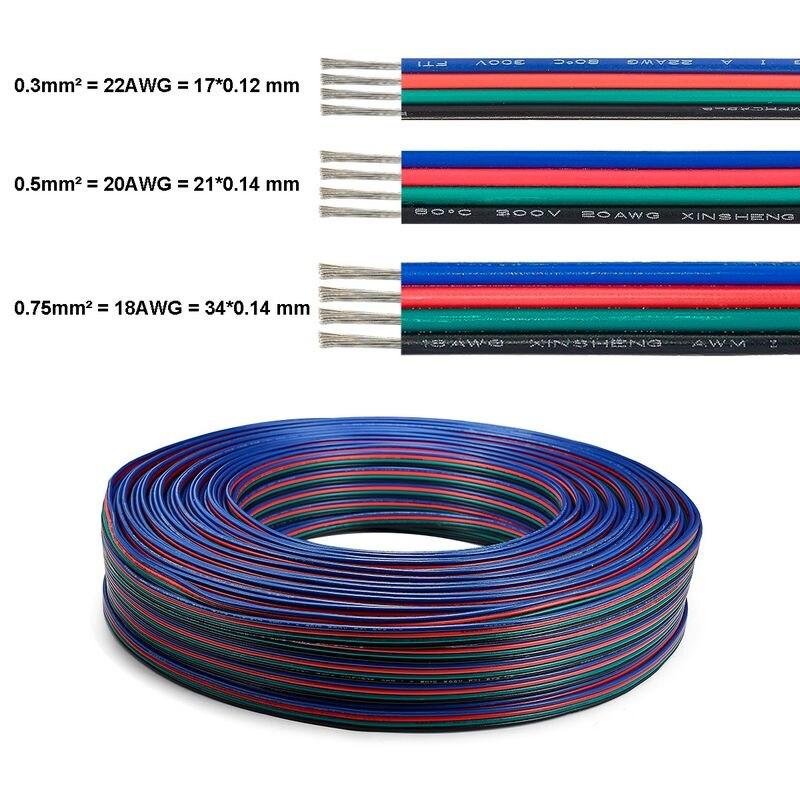 Светодиодная лента Электрический кабель 20 М 4-контактный провод SM JST Луженые Медные провода Соединительный кабель для светодиодной ленты 5050...