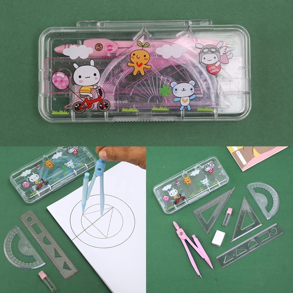 7Pcs Geometric Ruler Compass Set Math Geometry Rulers Math Set Precision Durable Students For School Tool Stationery Drawin A5B7