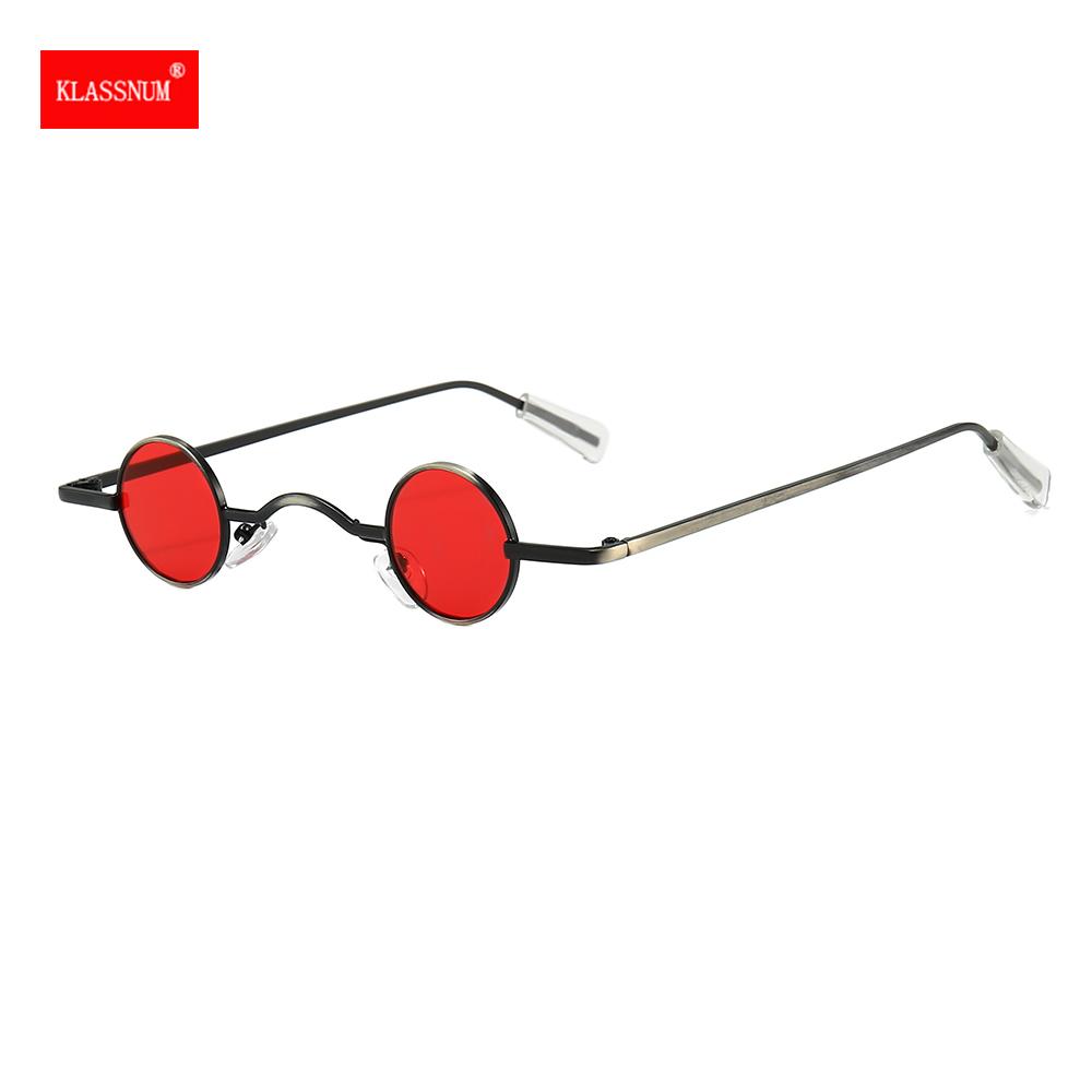 Retro Mini Sunglasses Round Men Metal Frame Gold Black Red Small Round Framed Sun glasses Popular Color Lens Sunglasses Fashion