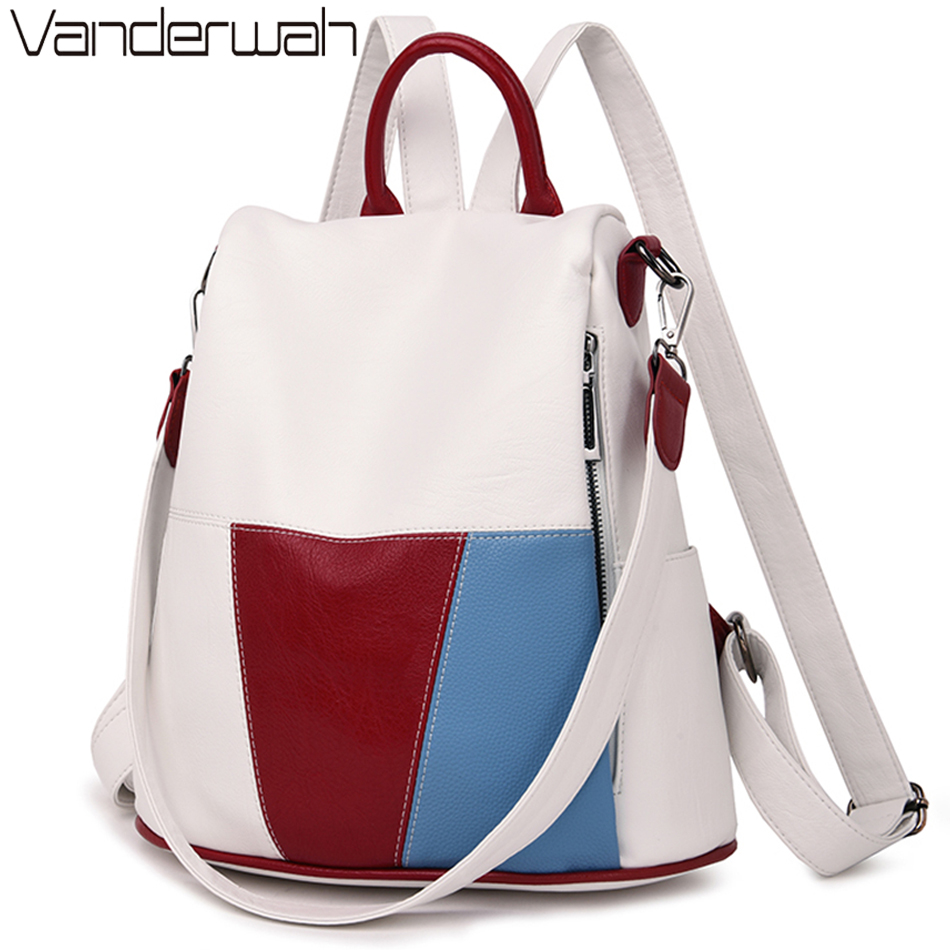 2019 Anti-theft Women Leather Backpack Female School  Shoulder Bags For Women Travel Ladies Bagpack Mochilas Feminina Preppy Sac