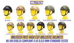 Ballistische Helm Nij Level Iiia 3A 2019 Nieuwe Snelle Hoge Xp Cut Iso Gecertificeerde Kogelvrije Helm Met 5 Jaar Garantie -Militech