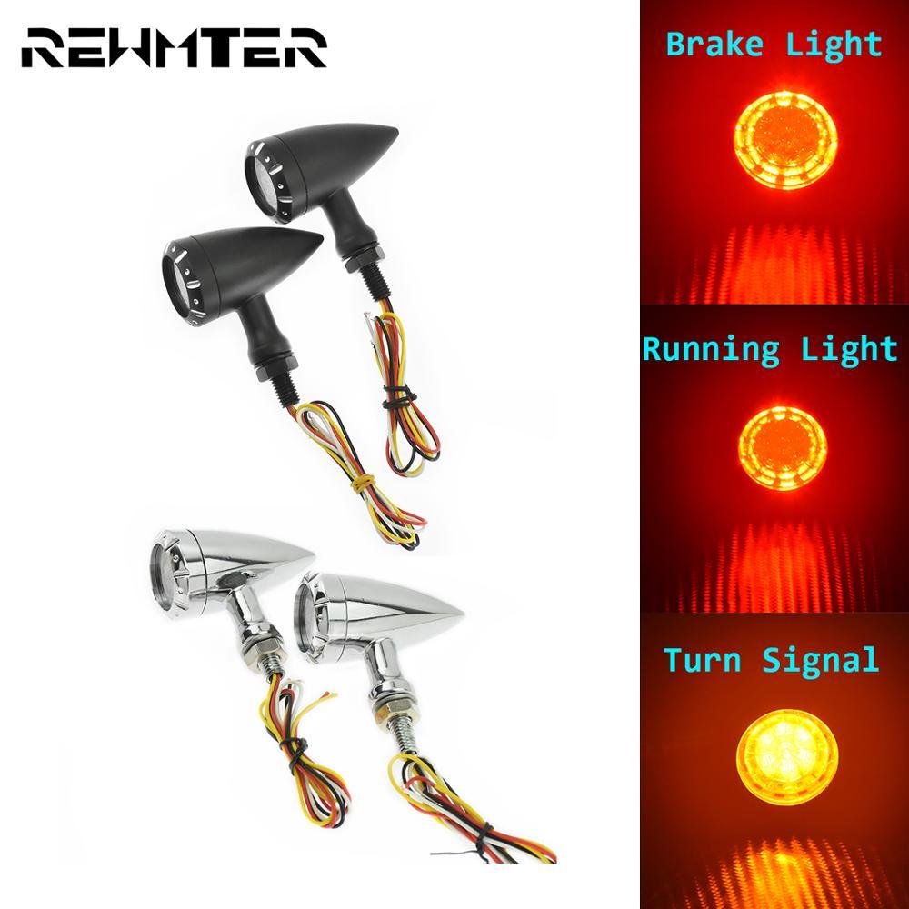 Universal Motorcycle LED Turn Signal Light Running Brake Lights 10mm Indicator Lamp For Harley Chopper Bobber Cruiser Cafe Racer