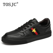 TOSJC High Quality Men Casual Hollow Shoes Fashion Skateboarding Shoes Cow Leather Sneakers Comfortable Man Lace-up Trainer Shoe