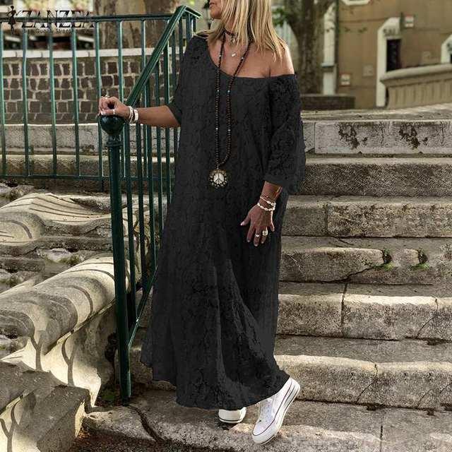 ZANZEA Women Bohemian Sundress Maxi Long Lace Crochet Dress Summer O Neck 3/4 Sleeve Party Vestido Robe Femme Casual Loose Dress
