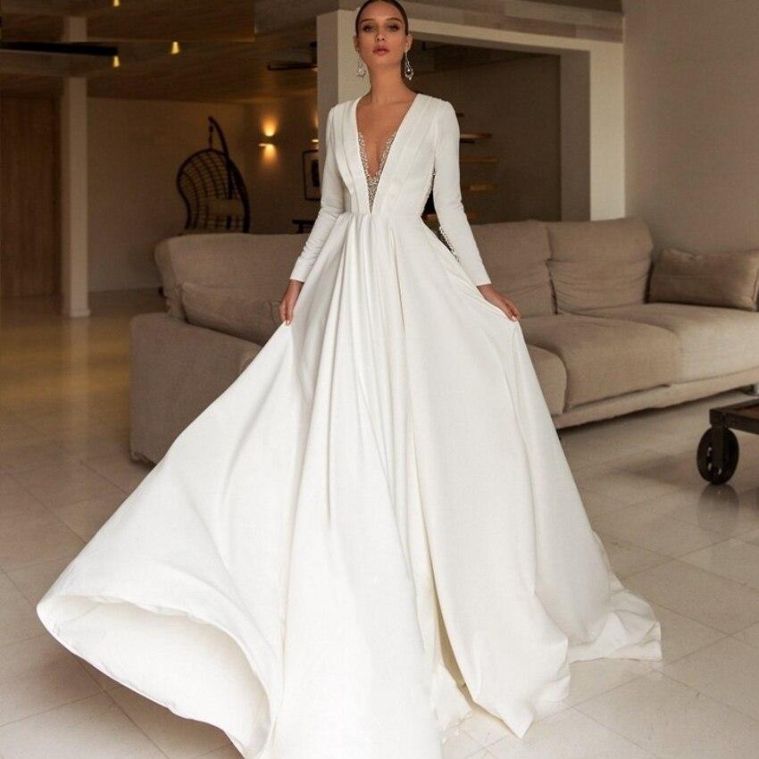 A-line Bridal Dress Vestido De Noiva Stretch Satin Beach Wedding Dresses Long Sleeves Beading Long Bridal Formal Gown 2021