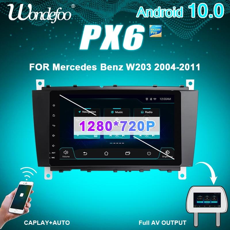 Wondefoo PX6 1 DIN Android 10 магнитола автомобильное радио gps для Benz C Class W203 C200 C230 C320 CLK200 CLK350 1DIN автомобильная аудио стерео навигация
