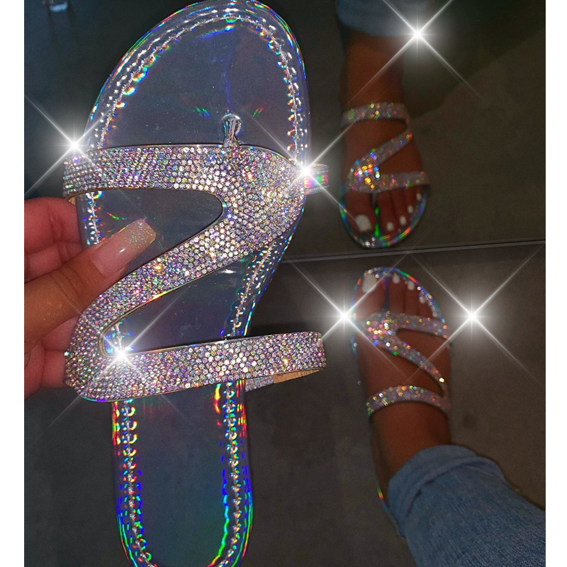 Women Summer Flat Bling Slippers Transparent Soft Jelly Shoes Female Flip Flops Sandals Outdoor Beach Ladies Slides Plus Size|Low Heels| |  - AliExpress