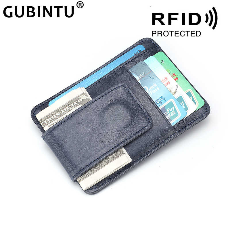 Ultrathin Magnetik Klip Uang Saku Depan Dompet Slim Genuine Leather RFID Blocking Kuat Magnet Dompet Kulit Pria Dompet