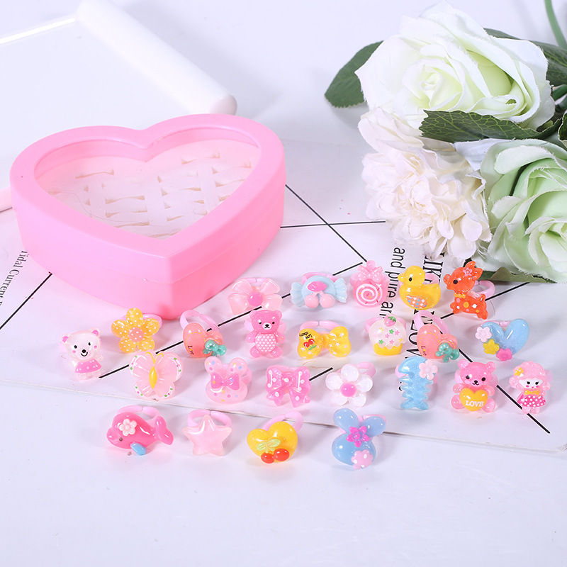 36pcs/set Girls Toys Cartoon Rings Kids Birthday Gift Fashion Pretend Play Party Toys For Children Cute Plastic Rings