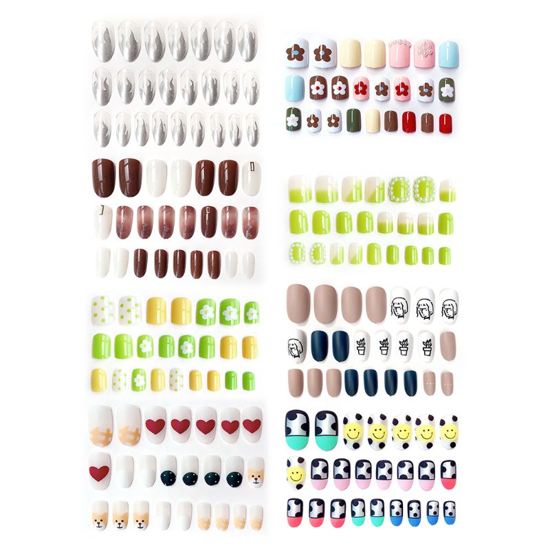 24pcs/set Elegant Color Jump Design False Nails Simple Middle-Long Size Full Nail Tips with Sided Adhesive Easy Install Nail