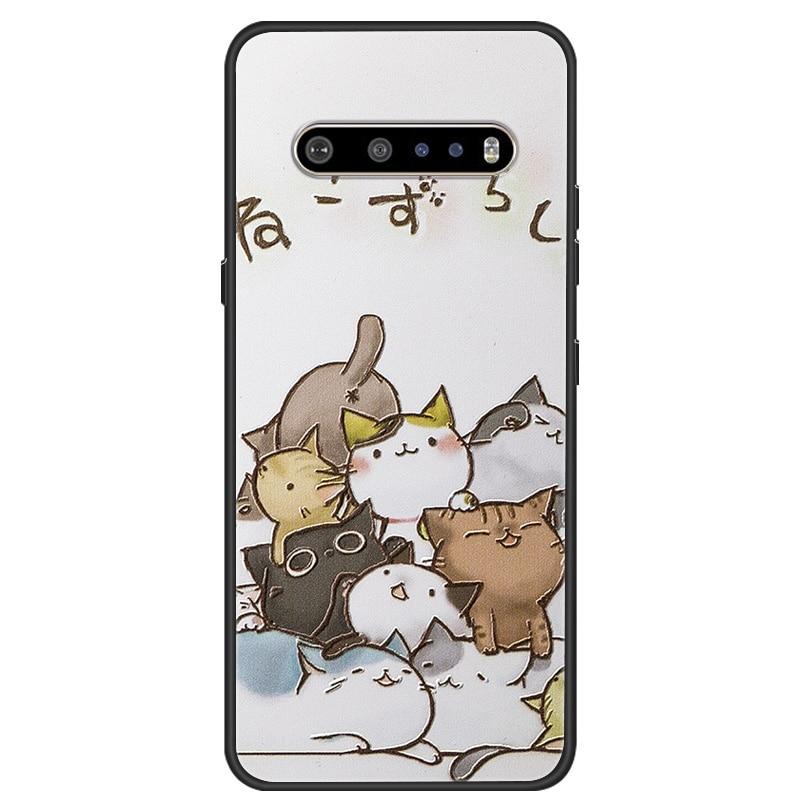 For LG V60 Case Flower Relief Black Soft Silicone Phone Back Cover For LG K61 LG K50S K40S G7 G8X Thinq V 60 Cases K20 K30 2019