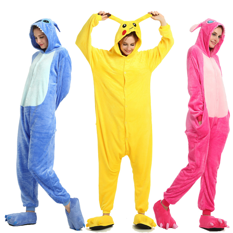 Adult Unicorn Pikachu Onesies Flannel Pajamas Family 2020 New Year Party Halloween Animal Stitch Pijamas